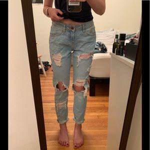 Zara Premium Denim Distressed Straight Jeans